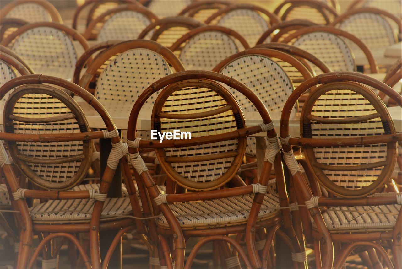 Close-up of wicker chairs