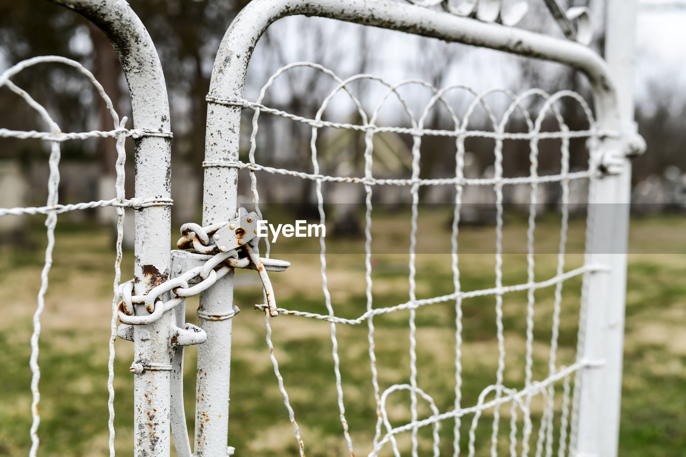 Close-up of wire fence on field
