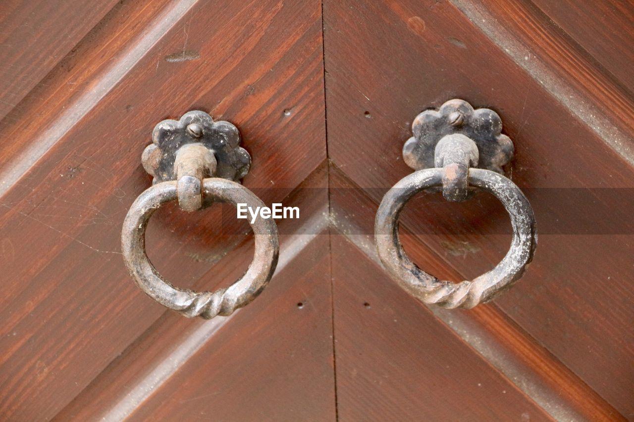Detail shot of door handles