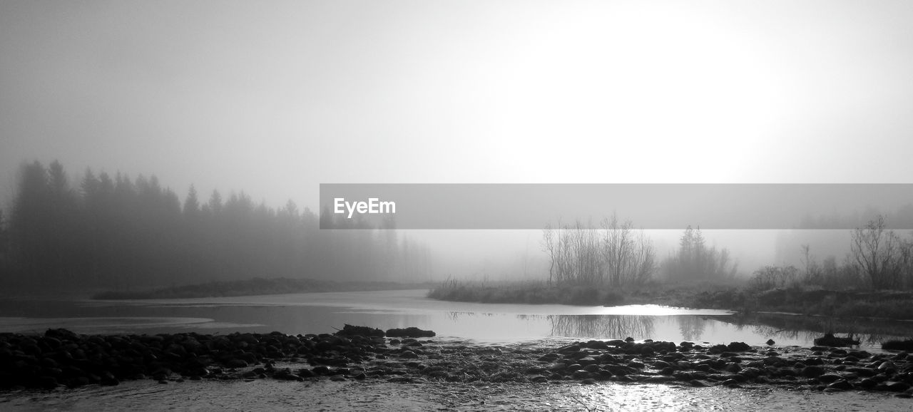 nature, beauty in nature, fog, tranquility, water, tranquil scene, foggy, idyllic, scenics, tree, mist, outdoors, cold temperature, day, hazy, no people, sky, winter, landscape, sea