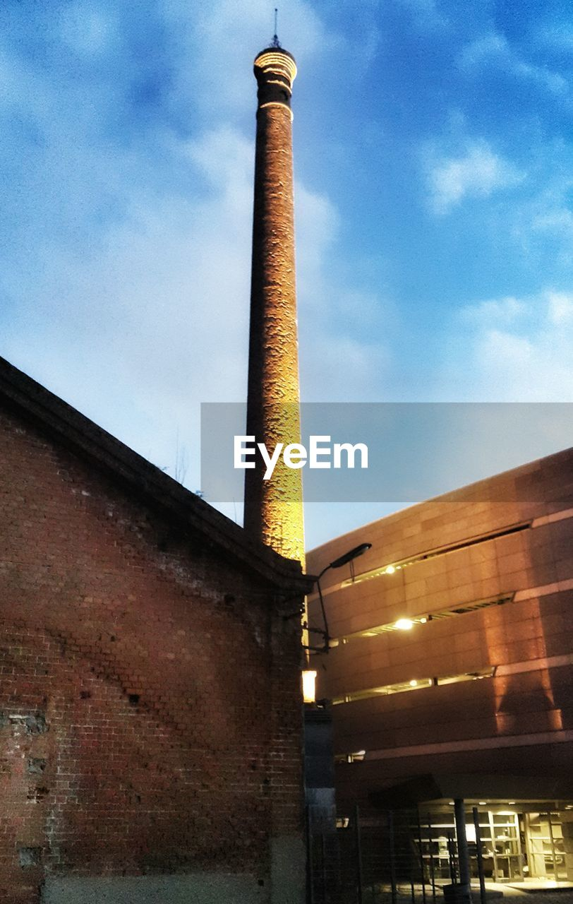 architecture, built structure, industry, low angle view, smoke stack, factory, building exterior, sky, no people, outdoors, day