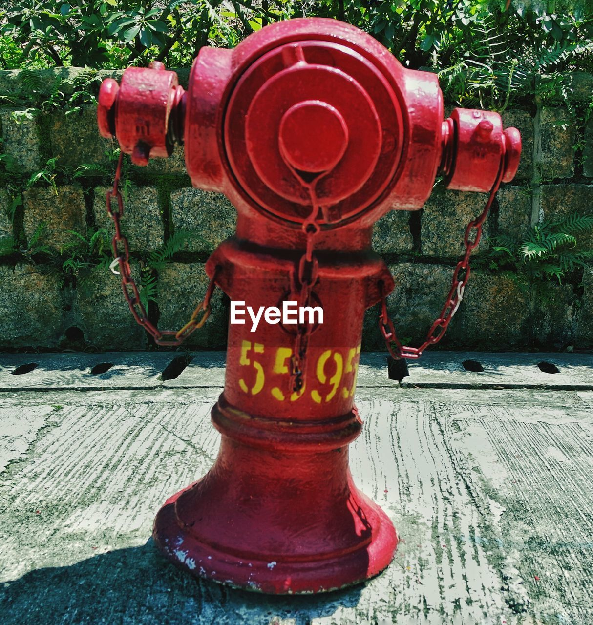 red, fire hydrant, metal, outdoors, text, day, no people, communication, architecture, close-up, tree, building exterior