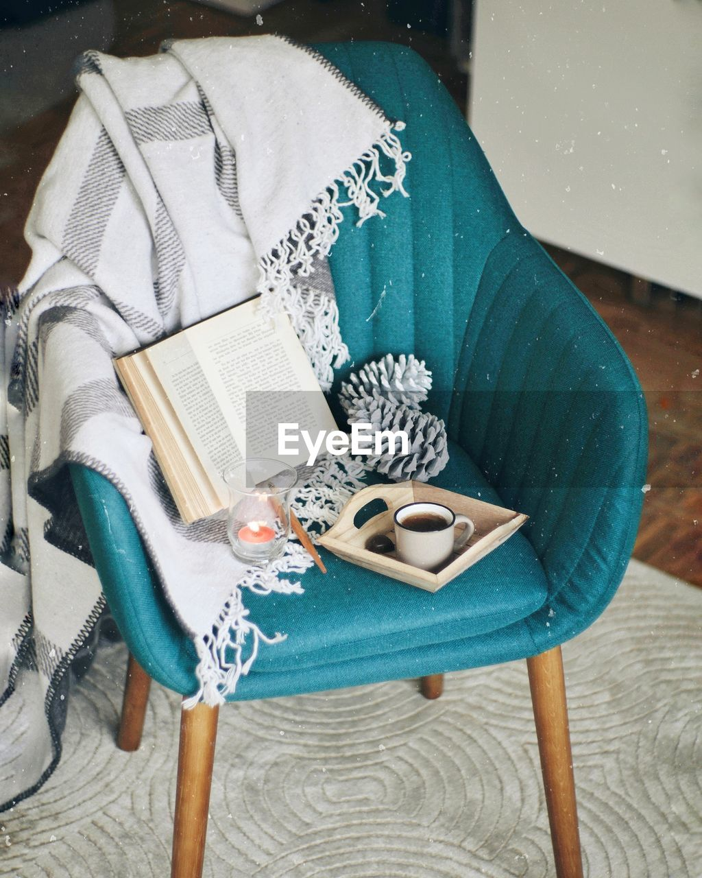 High Angle View Of Objects On Chair