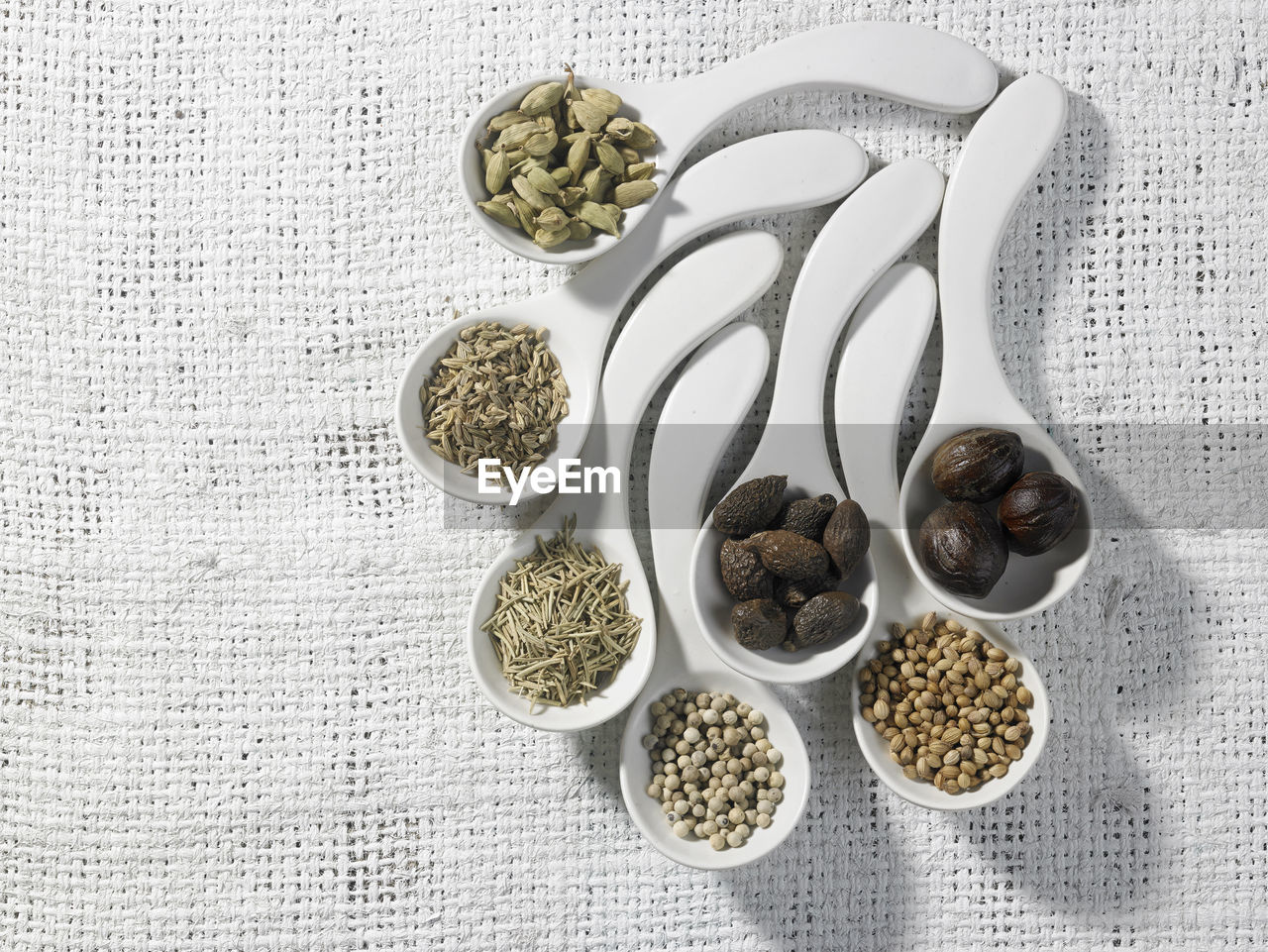 High angle view of ingredients in spoon on table