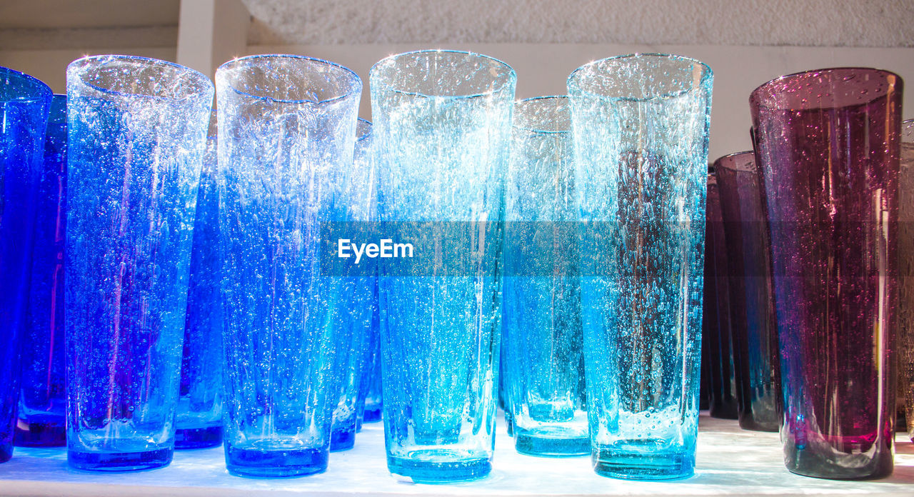 blue, no people, indoors, large group of objects, close-up, water, multi colored, day, freshness