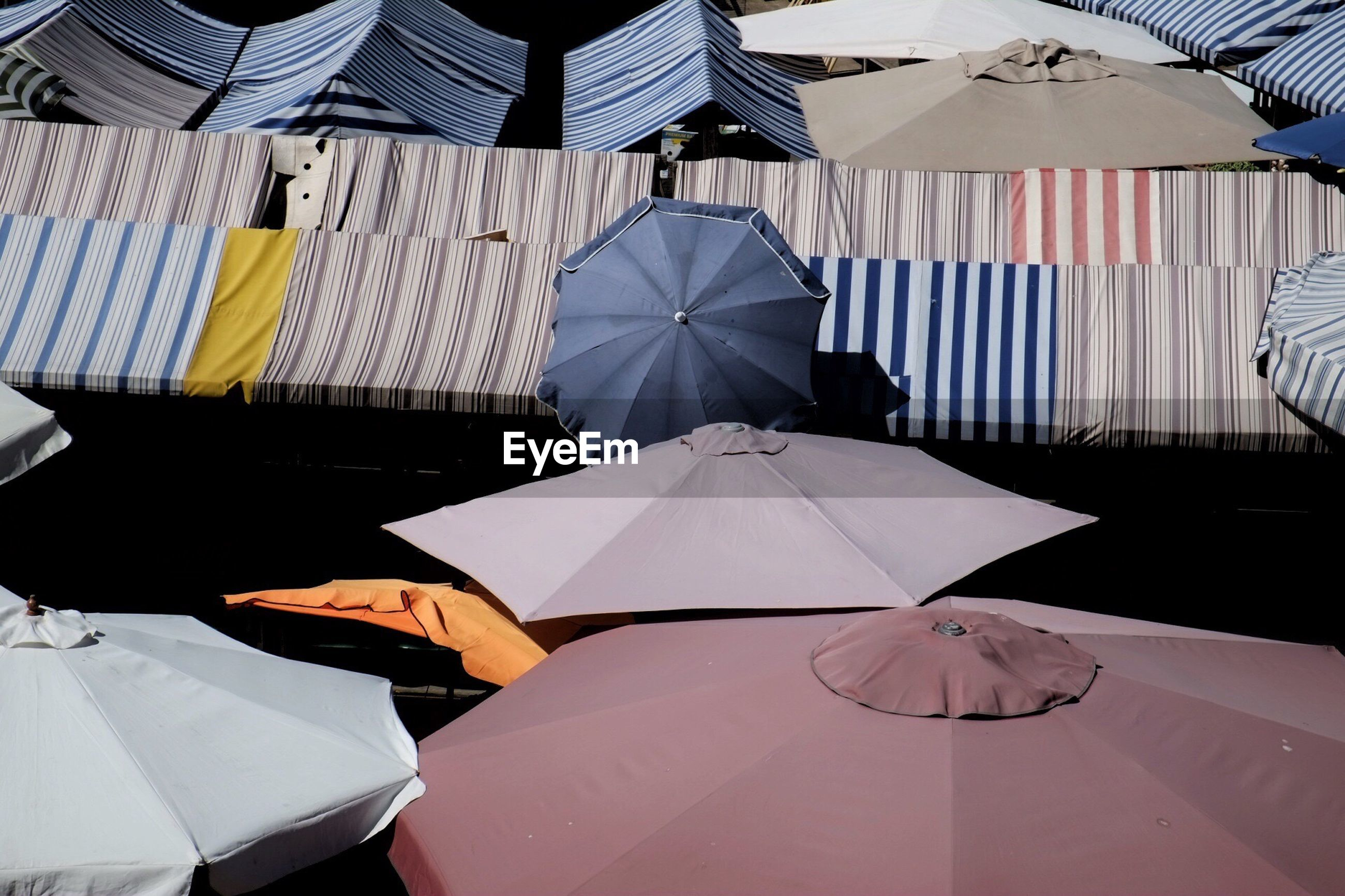 High angle view of umbrellas