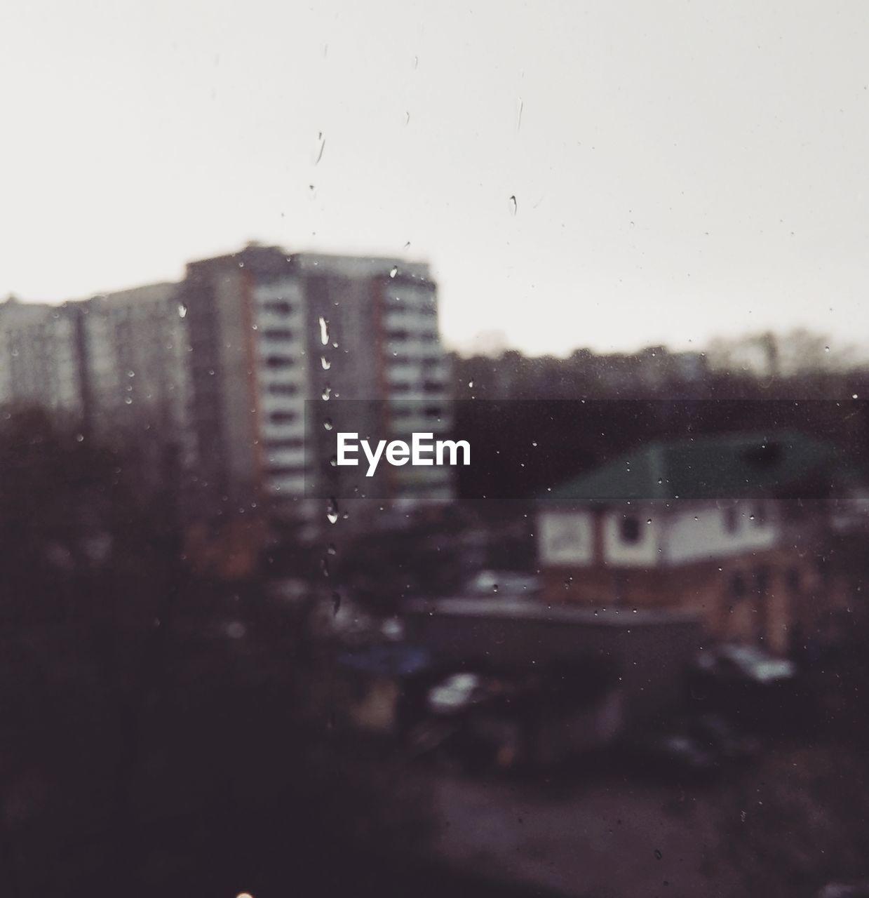 rain, window, drop, wet, raindrop, urban, no people, bleak, city, water, sky