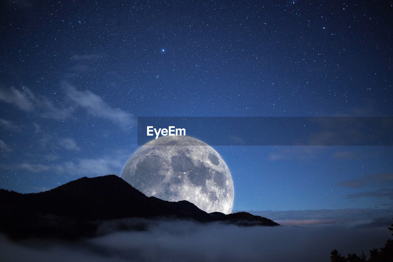 night, sky, astronomy, space, scenics - nature, beauty in nature, mountain, tranquil scene, star - space, tranquility, moon, no people, nature, idyllic, low angle view, galaxy, majestic, mountain range, outdoors, cloud - sky, planetary moon, milky way, full moon, mountain peak, space and astronomy