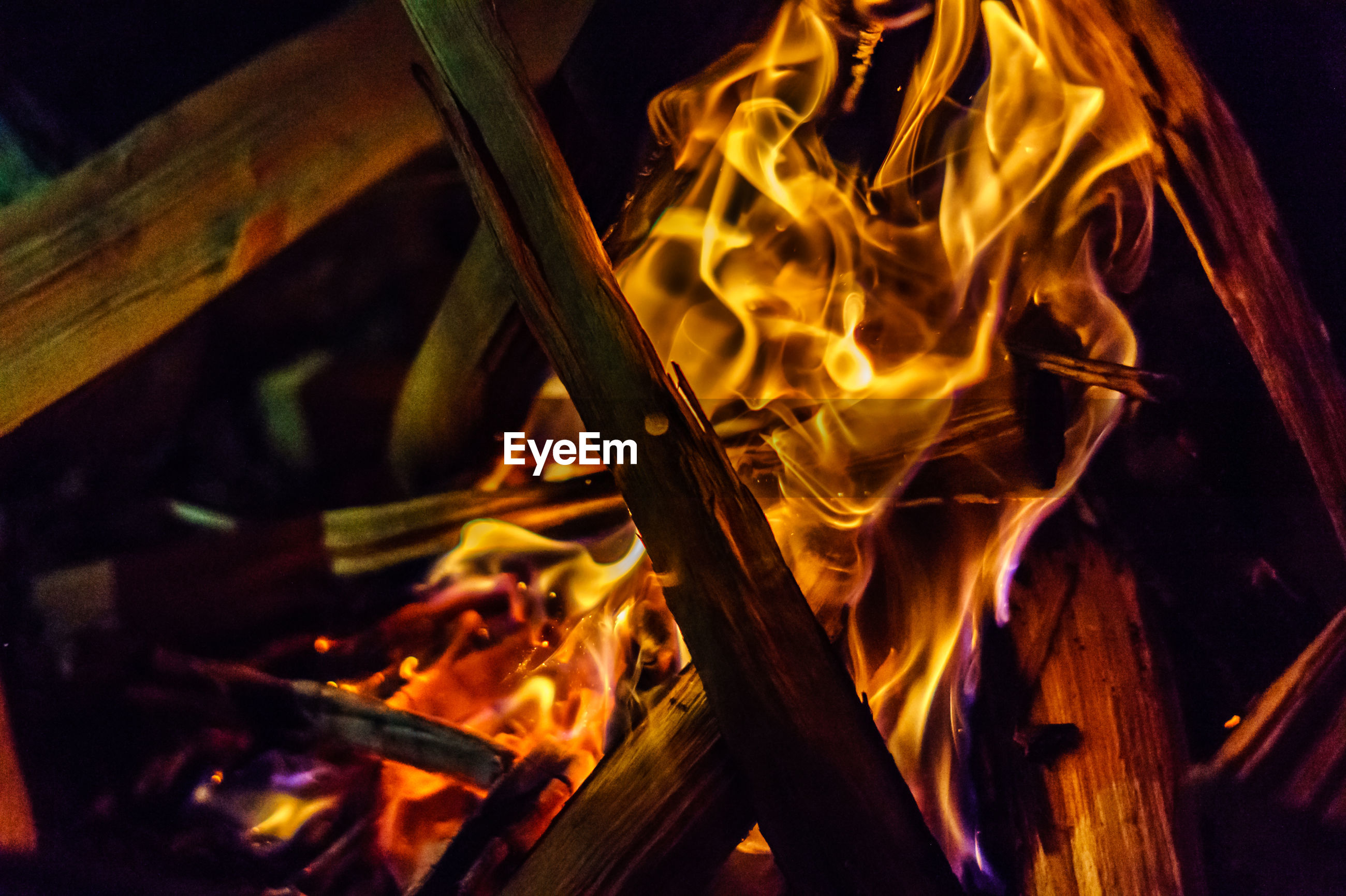 Close-up of burning fire at night