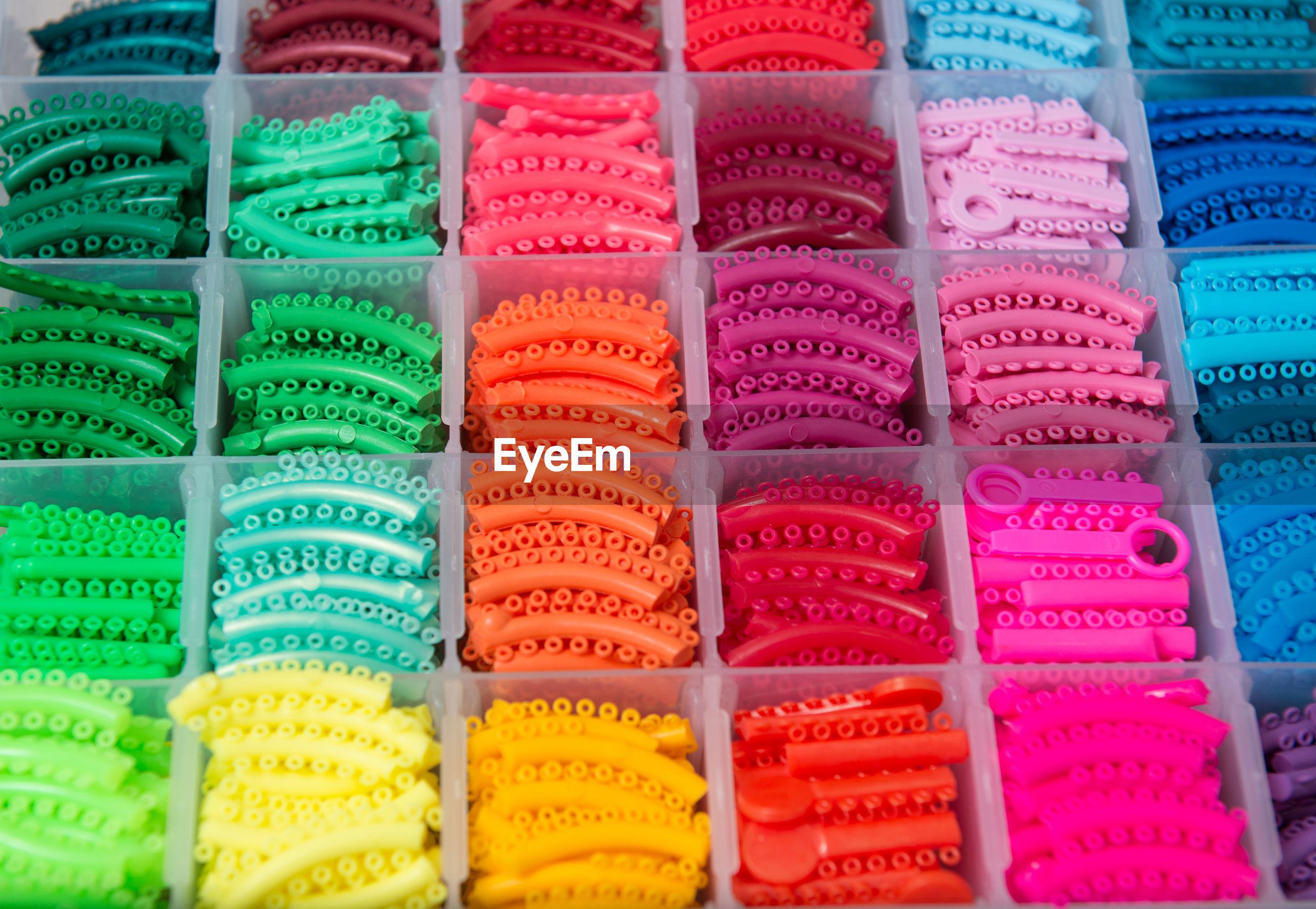 Full frame shot of multi colored teeth rubber