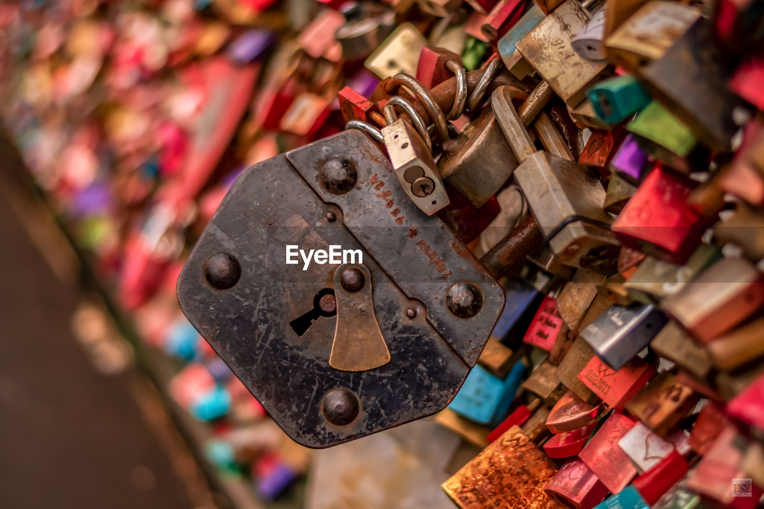 A special padlock on the railway bridge of the love locks