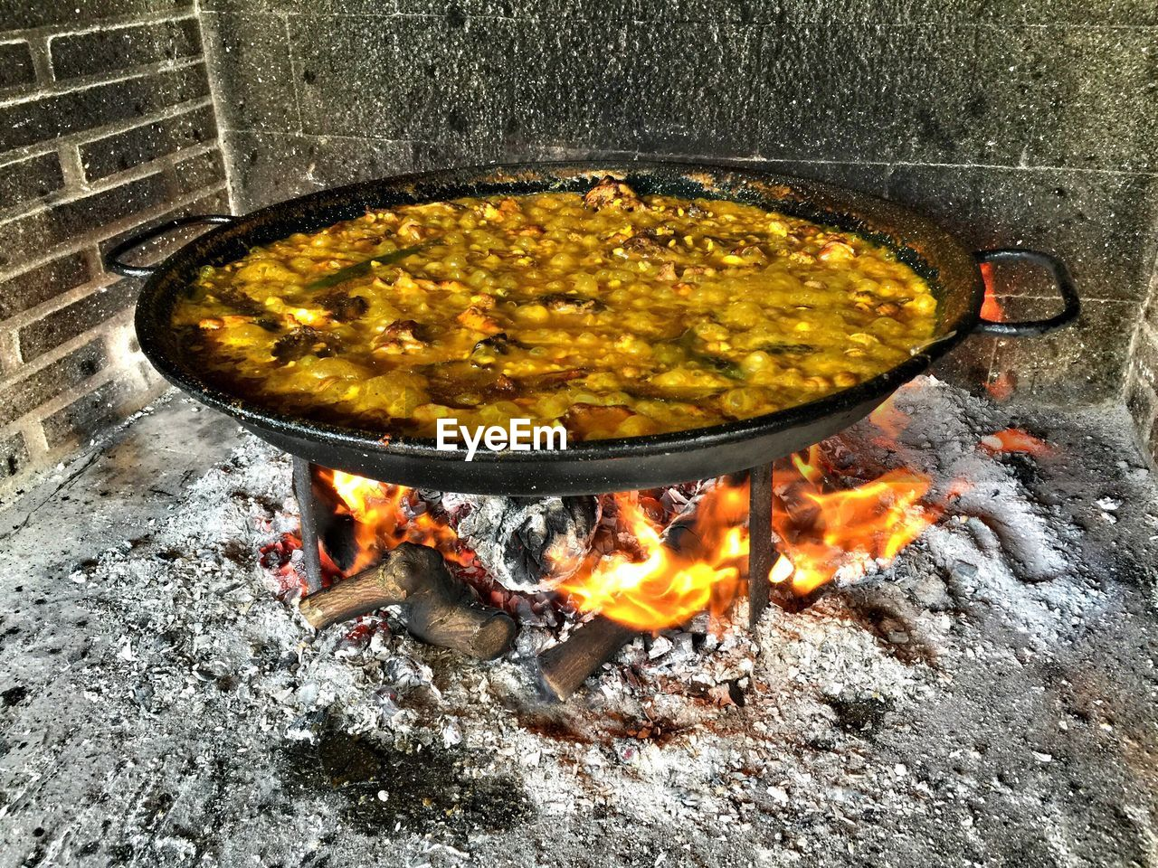 Food Cooking In Container On Wood Burning Stove