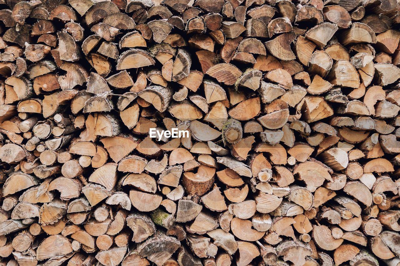Full Frame Shot Of Log Stack