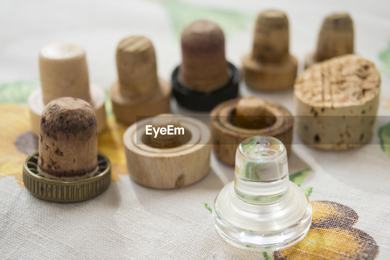 High Angle View Of Corks On Table