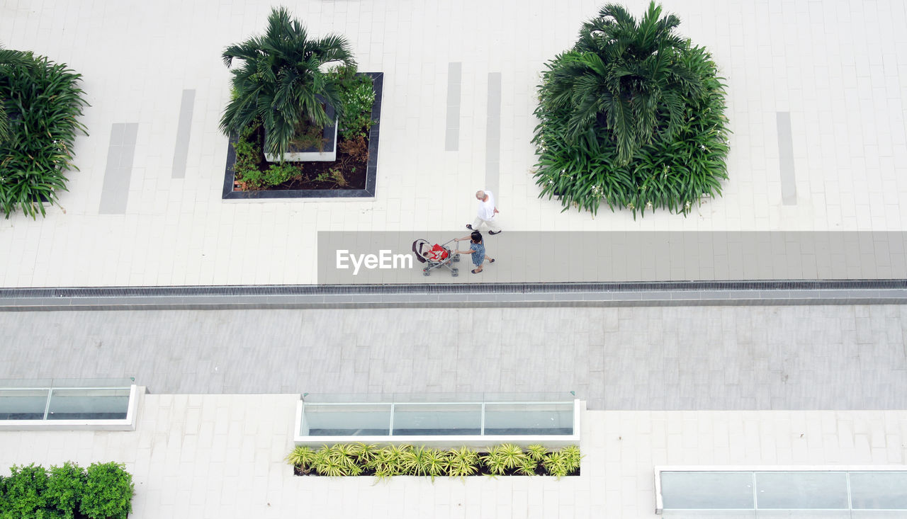 High Angle View Of People In City Street