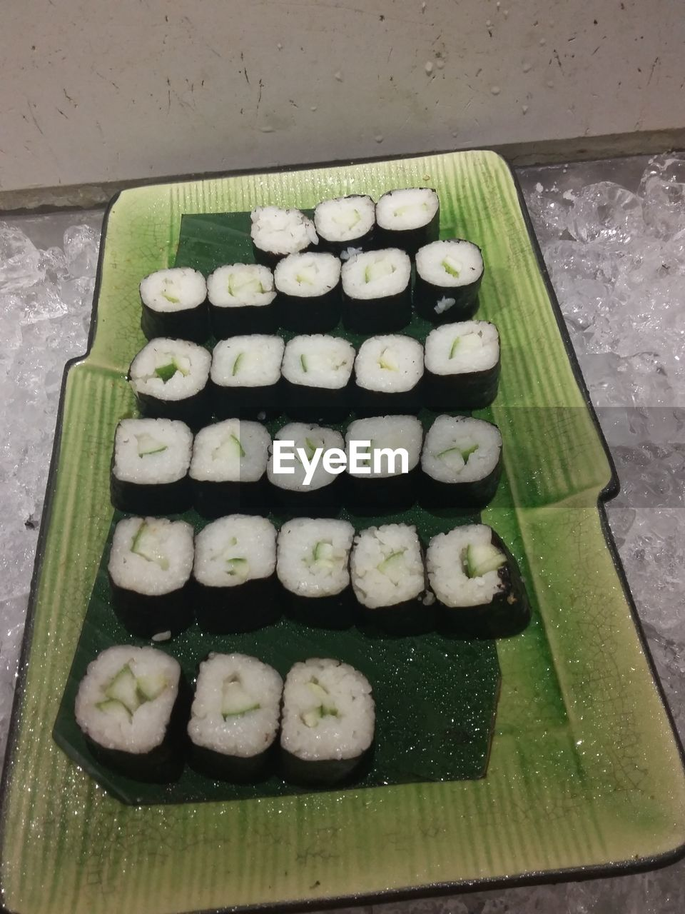 food and drink, food, freshness, in a row, indoors, large group of objects, no people, healthy eating, japanese food, high angle view, green color, vegetable, sushi, ready-to-eat, close-up, day
