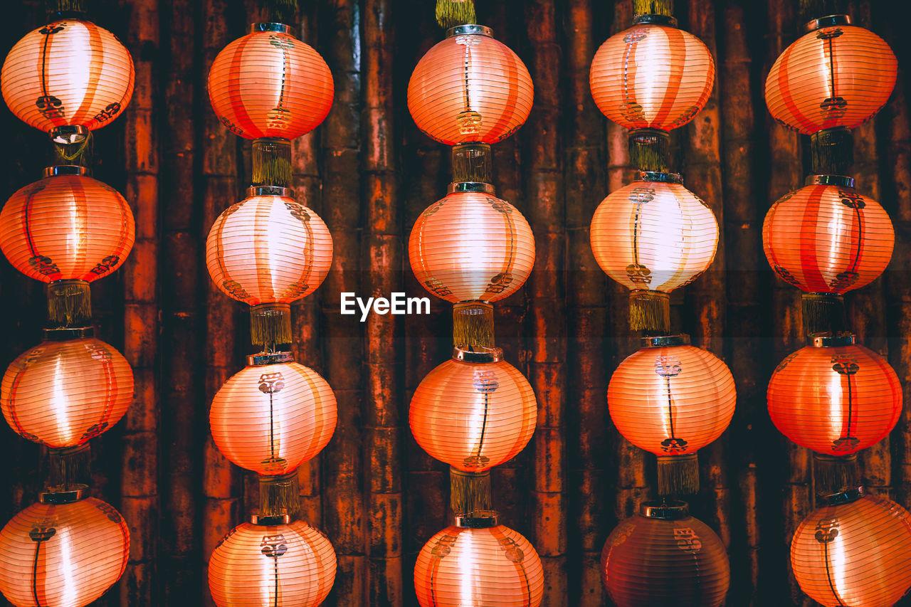 Full frame shot of illuminated lanterns hanging