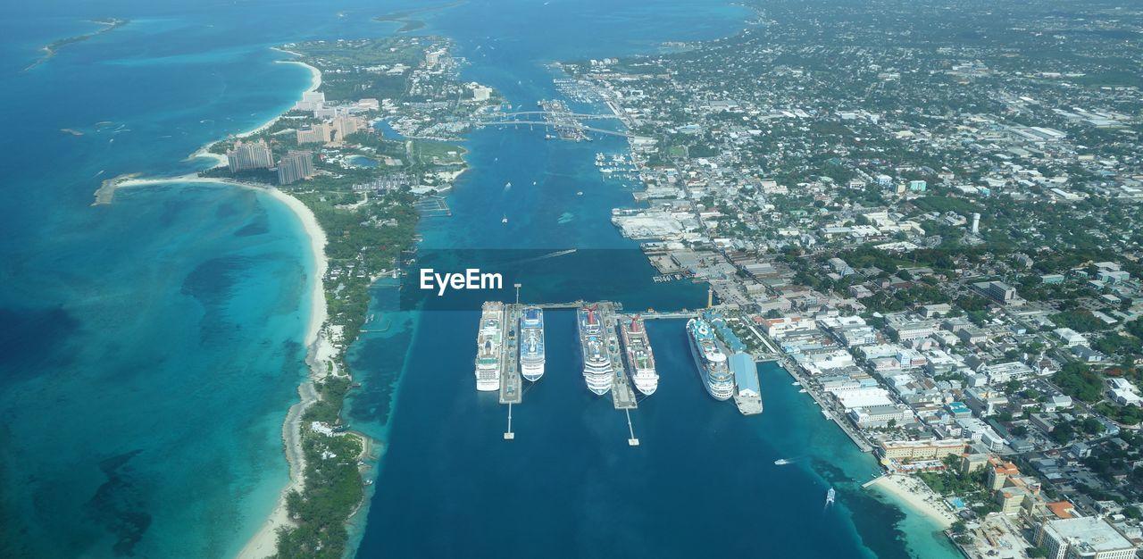 Aerial view of nassau port