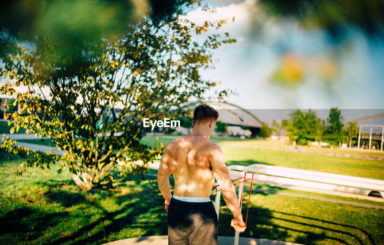 shirtless, one person, plant, tree, nature, young adult, rear view, lifestyles, standing, young men, men, day, muscular build, real people, strength, adult, leisure activity, outdoors, healthy lifestyle, shorts
