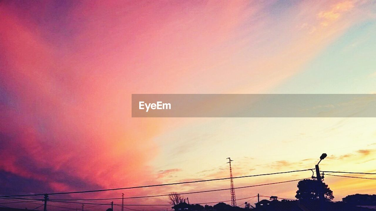 sunset, orange color, silhouette, nature, cloud - sky, sky, scenics, beauty in nature, no people, low angle view, cable, power line, connection, outdoors, electricity pylon, technology, day