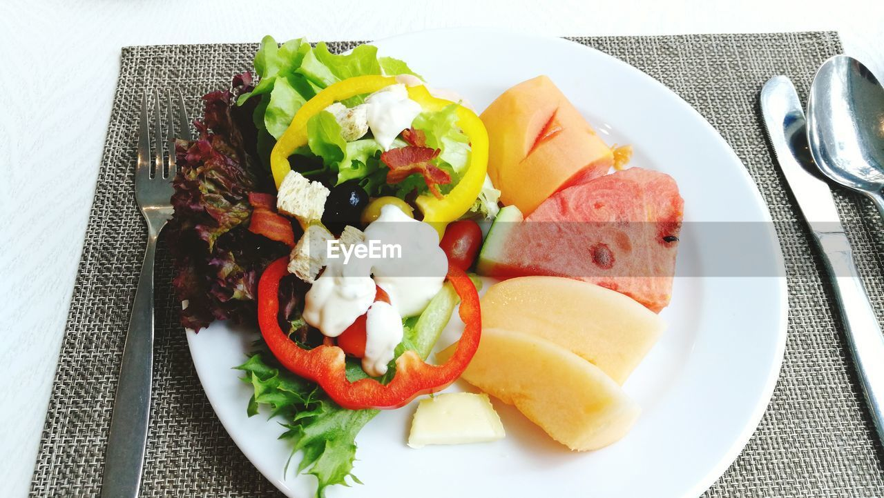 food, food and drink, plate, healthy eating, ready-to-eat, vegetable, freshness, fruit, eating utensil, tomato, kitchen utensil, meal, table, meat, wellbeing, fork, indoors, serving size, bread, still life, no people, breakfast, garnish, table knife