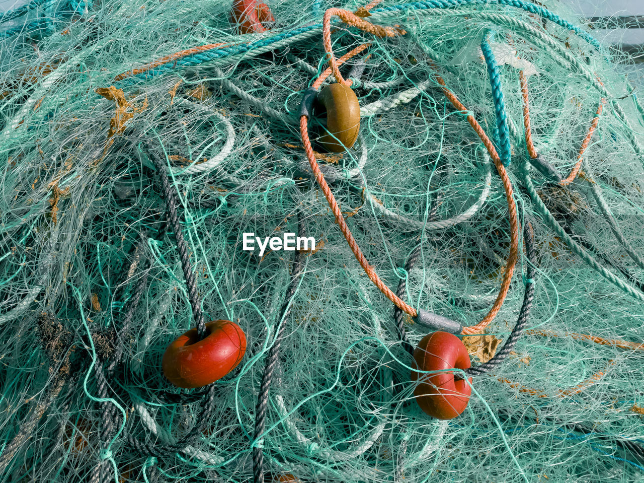 Full Frame Shot Of Turquoise Fishing Net