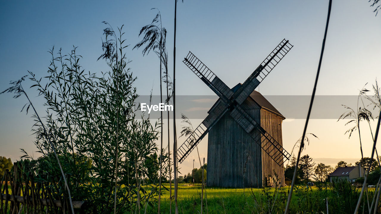 environmental conservation, alternative energy, renewable energy, wind turbine, plant, turbine, wind power, sky, fuel and power generation, traditional windmill, environment, tree, nature, architecture, rural scene, built structure, field, landscape, building exterior, land, no people, outdoors