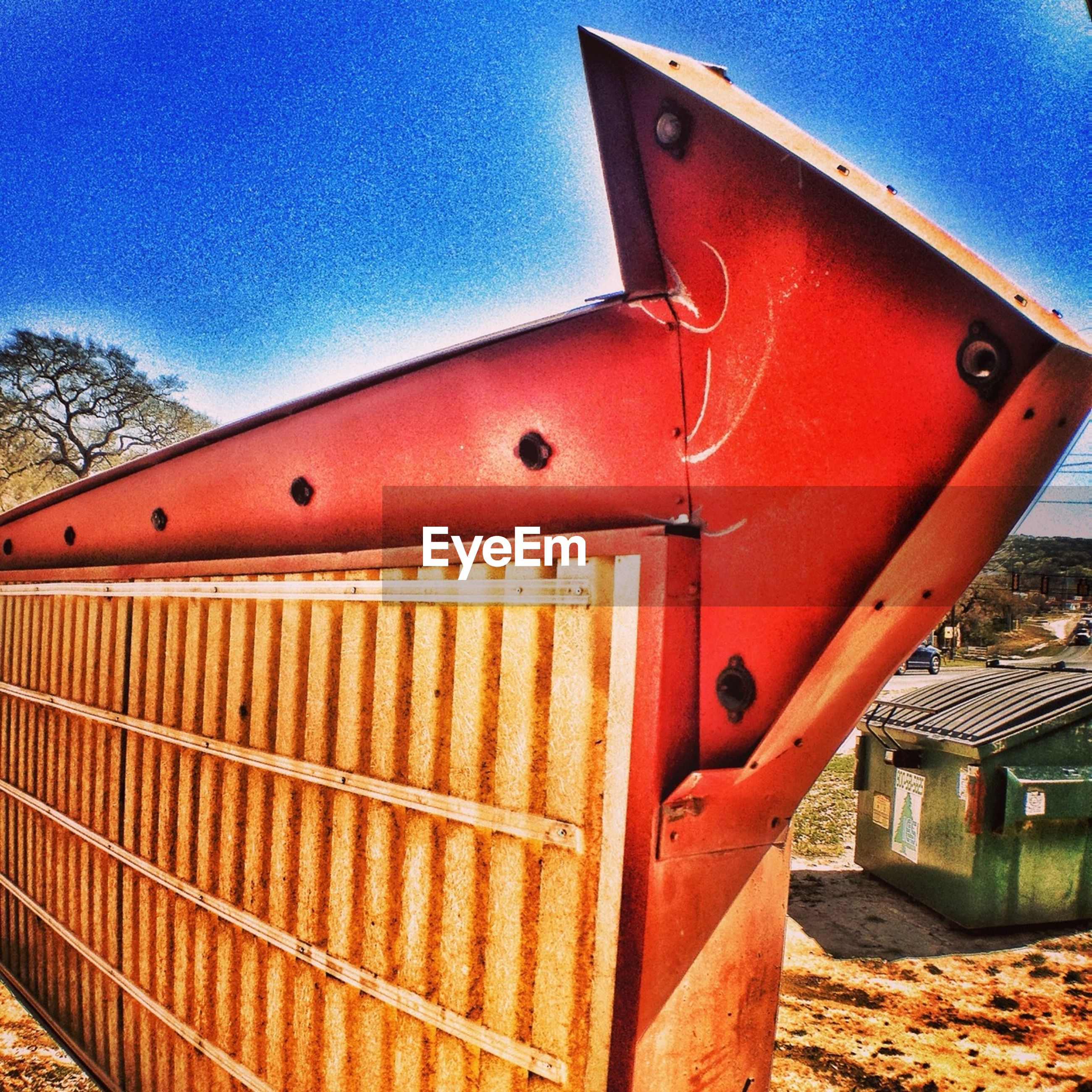 built structure, building exterior, architecture, blue, metal, red, rusty, wood - material, close-up, protection, security, safety, house, closed, low angle view, metallic, day, pattern, outdoors, part of