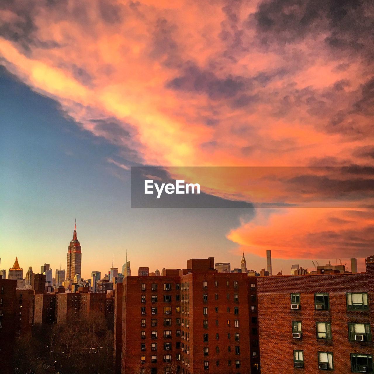 Cloudy sky over city