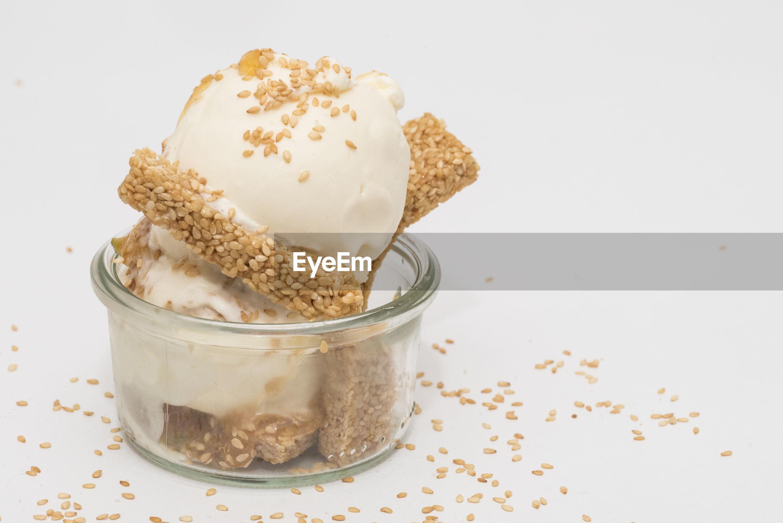 Close-up of ice cream against white background