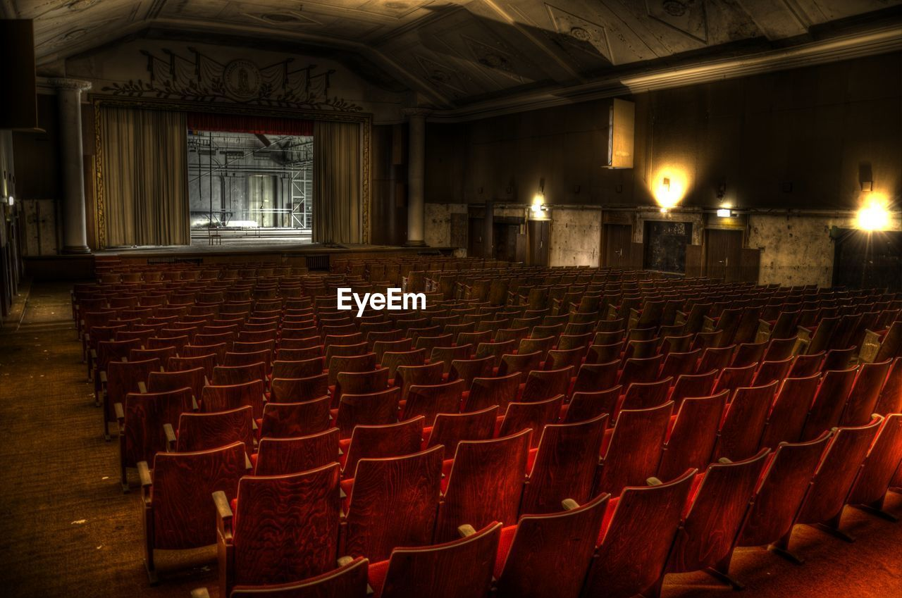 Interior of illuminated old theater