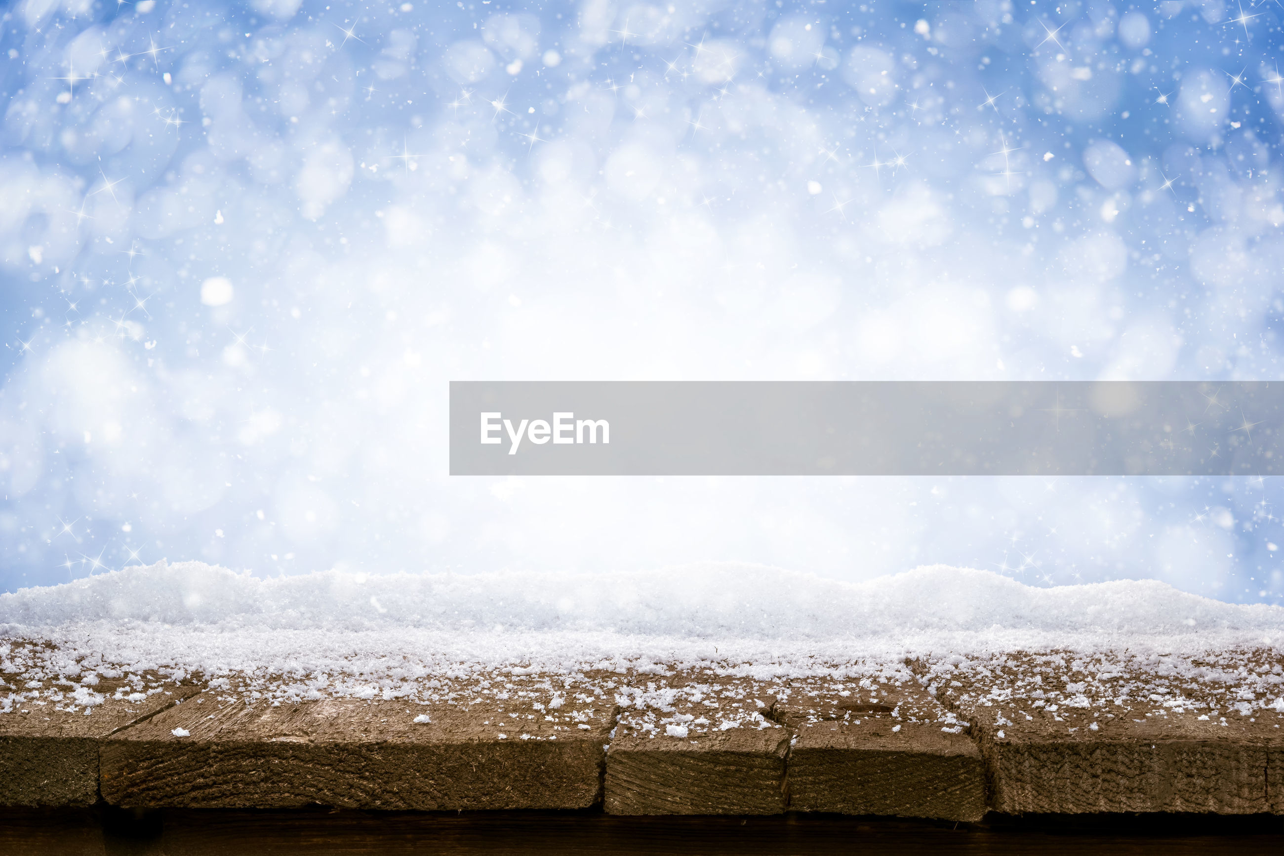 Close-up of snow on wood during winter