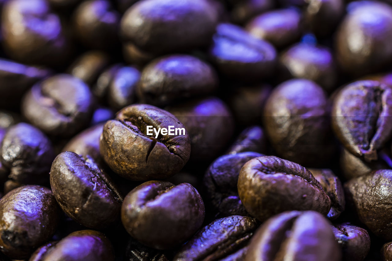 food and drink, food, freshness, still life, large group of objects, full frame, close-up, selective focus, indoors, backgrounds, wellbeing, healthy eating, no people, abundance, heap, roasted coffee bean, coffee - drink, coffee, purple, brown