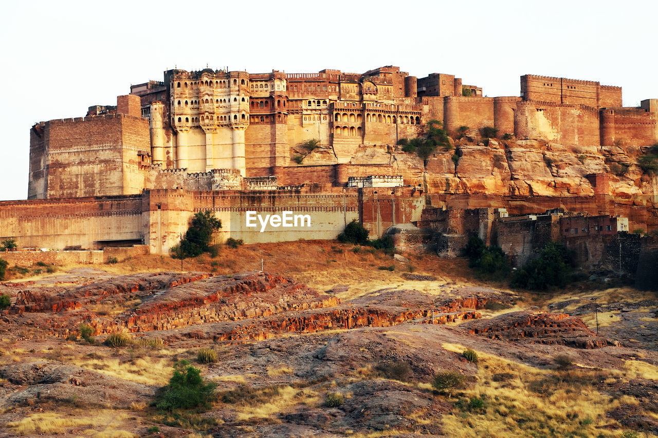 View of mehrangarh fort against clear sky