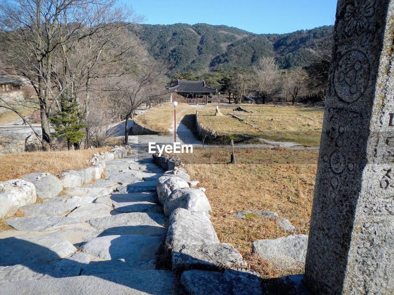 architecture, built structure, tree, solid, sky, no people, day, nature, mountain, landscape, plant, sunlight, rock, rock - object, tranquility, outdoors, scenics - nature, tranquil scene, environment, history, stone wall