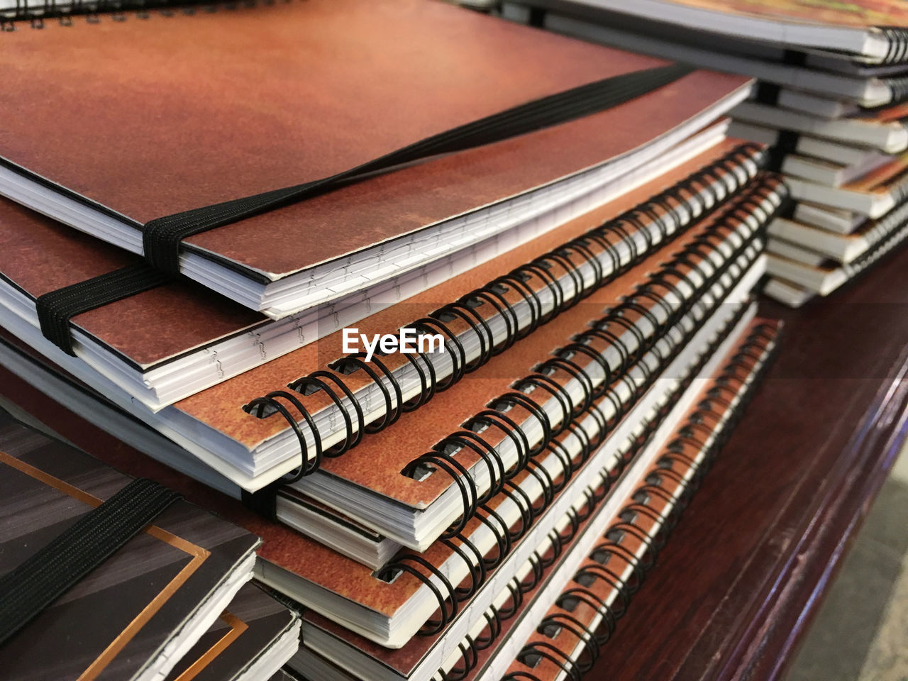 Close-Up Of Book Stack On Table