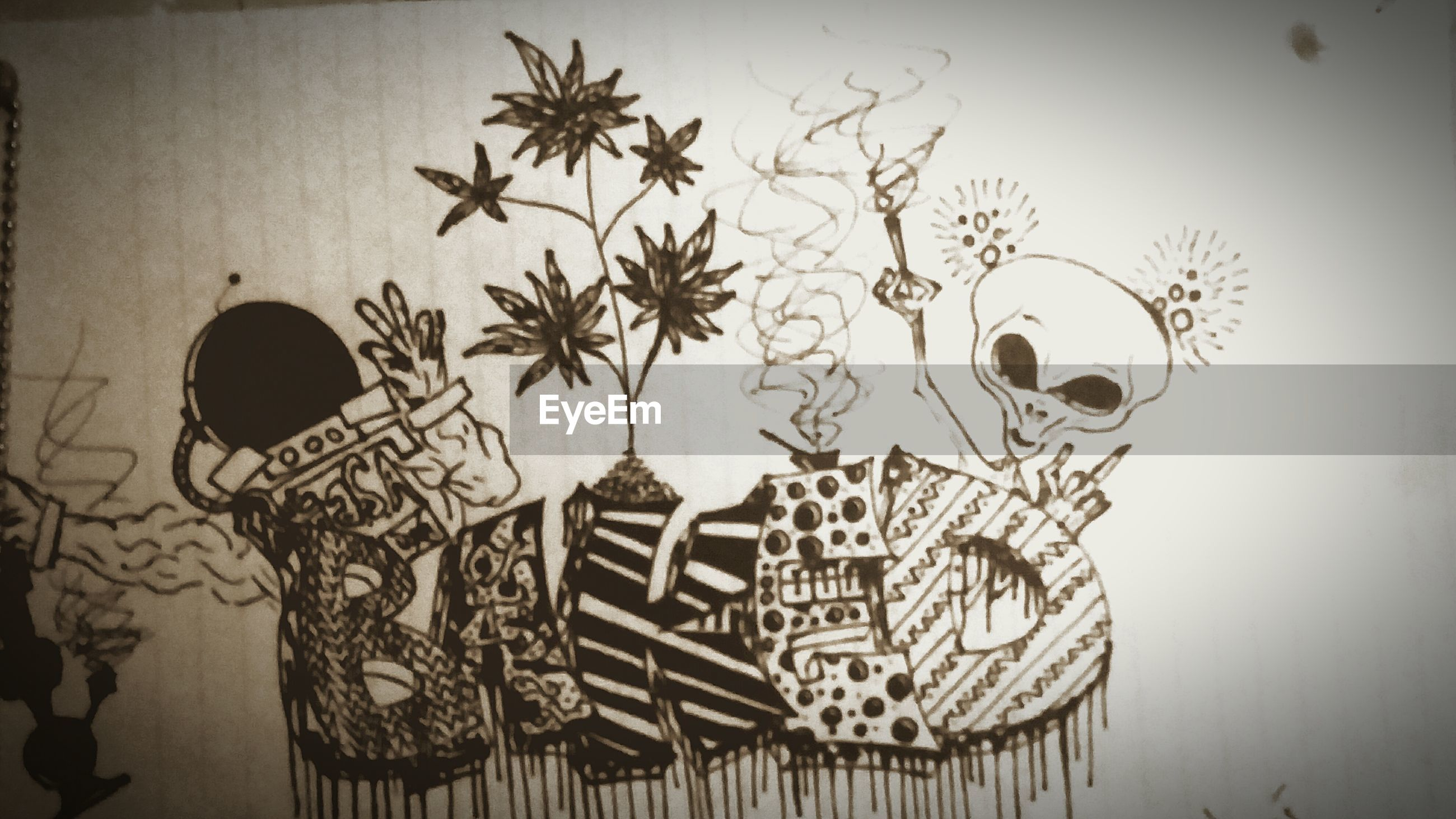 wall - building feature, art and craft, creativity, indoors, art, wall, built structure, auto post production filter, architecture, decoration, human representation, transfer print, no people, animal representation, close-up, graffiti, text, design, home interior