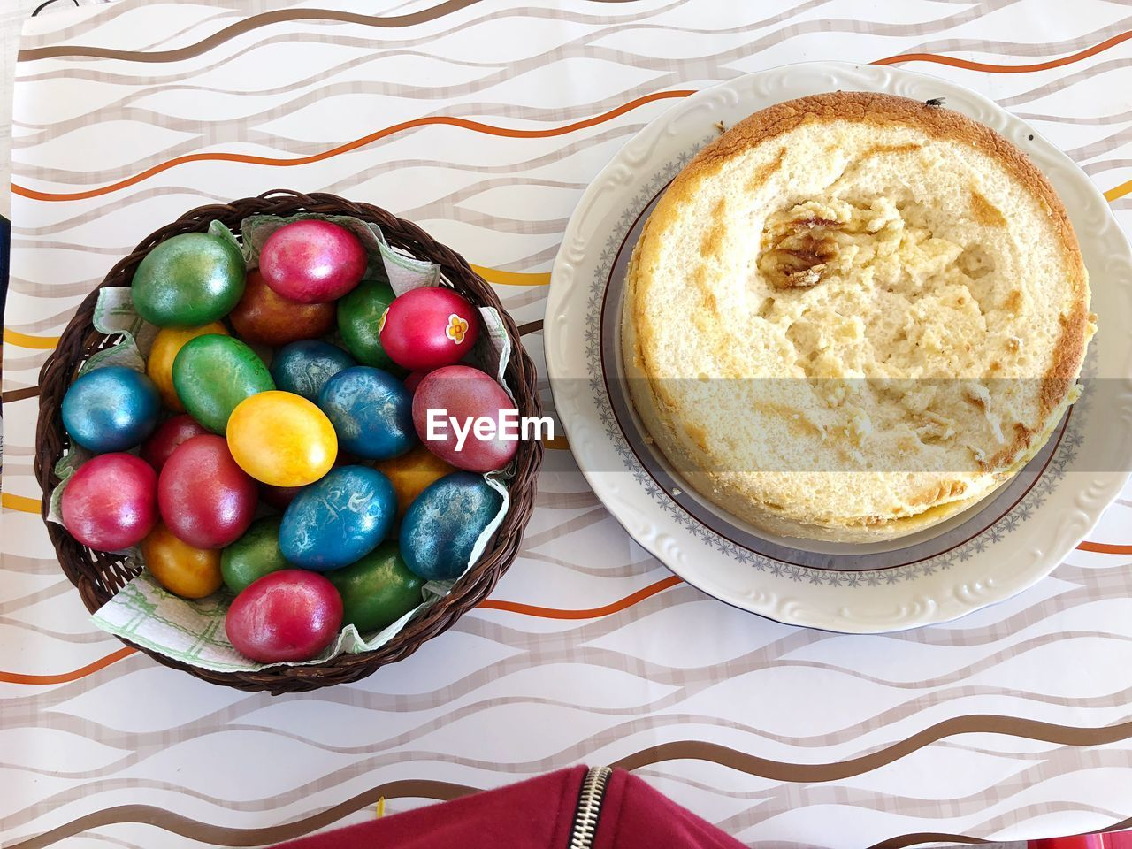 food, food and drink, still life, table, high angle view, freshness, indoors, ready-to-eat, multi colored, sweet food, egg, sweet, easter, holiday, plate, no people, dessert, indulgence, close-up, temptation