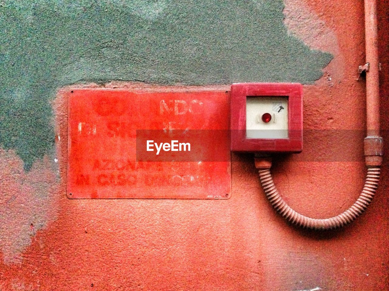 red, wall - building feature, connection, day, no people, outdoors, electricity, close-up