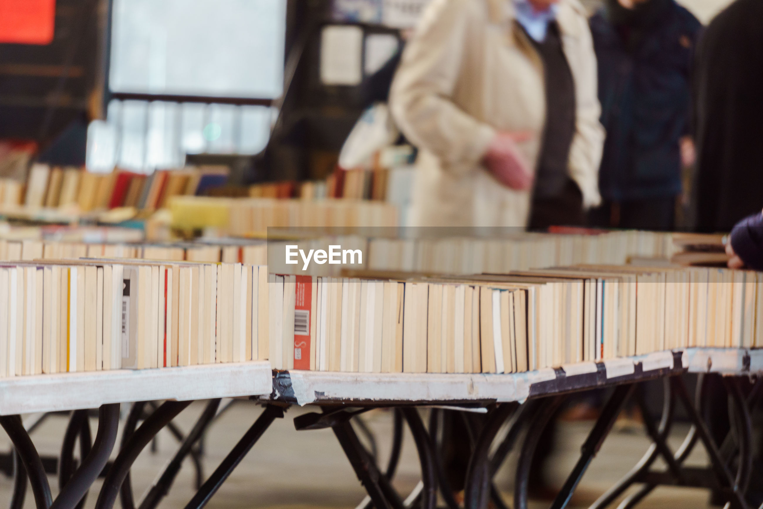 Close-up of books on table at store