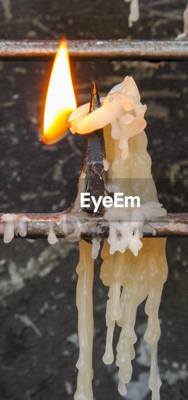 Close-Up Of Illuminated Candle In Temple