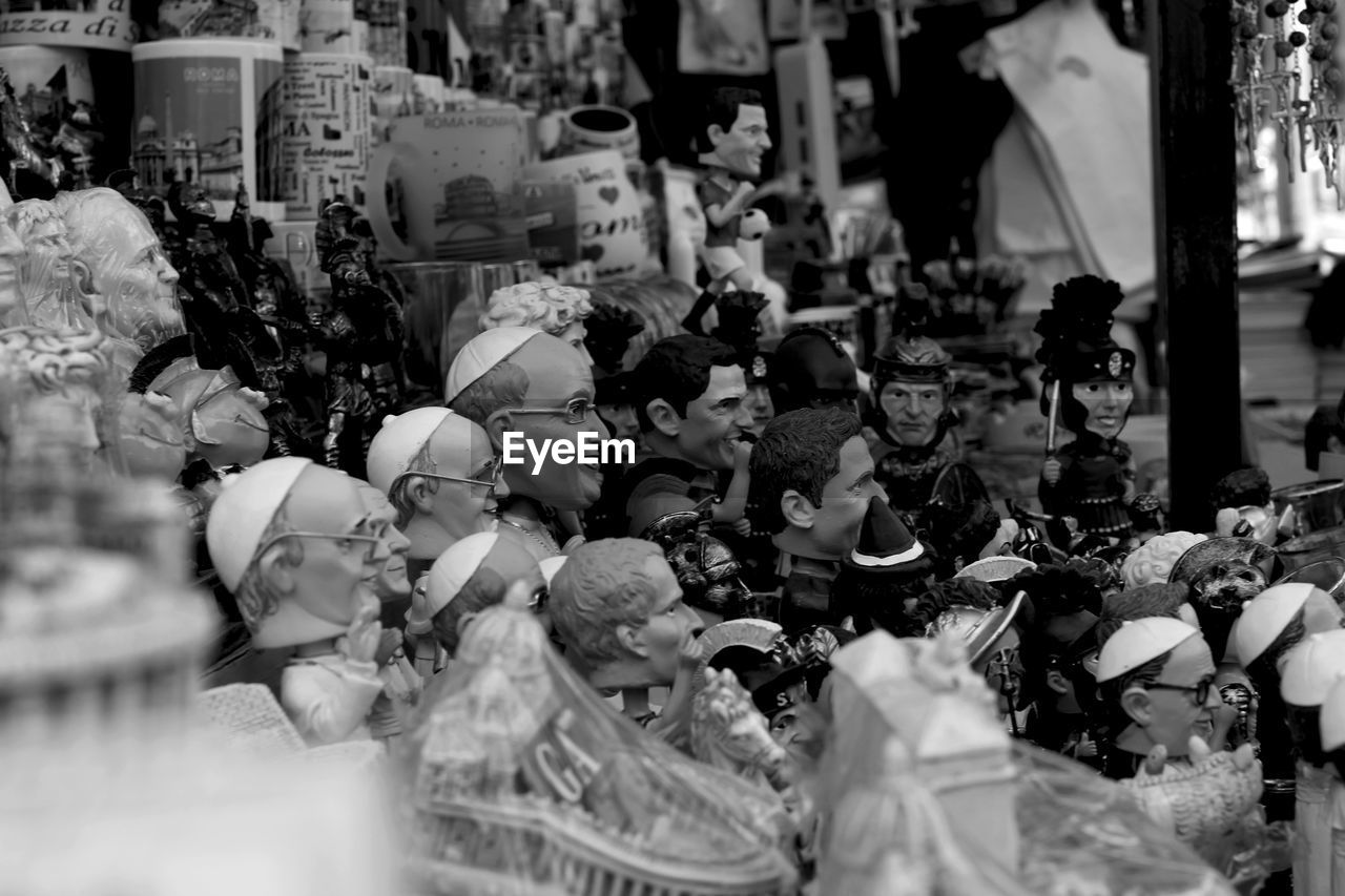 Close-up of figurines in shop