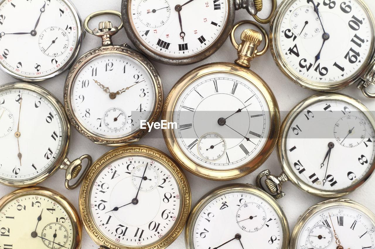 Full frame shot of clocks