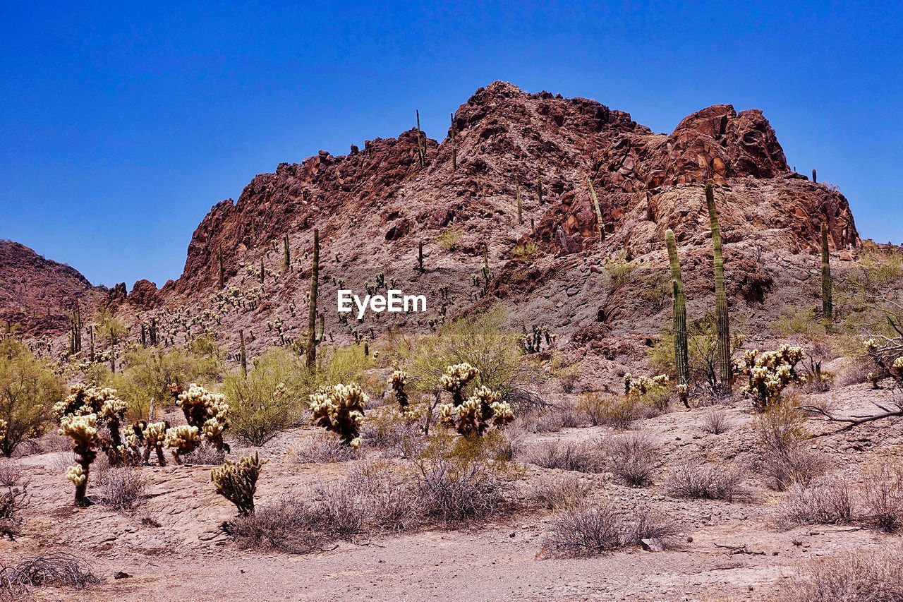 sky, rock, mountain, rock formation, tranquil scene, scenics - nature, clear sky, nature, non-urban scene, rock - object, tranquility, beauty in nature, environment, solid, land, day, landscape, plant, blue, physical geography, no people, mountain range, outdoors, formation, climate, arid climate, eroded