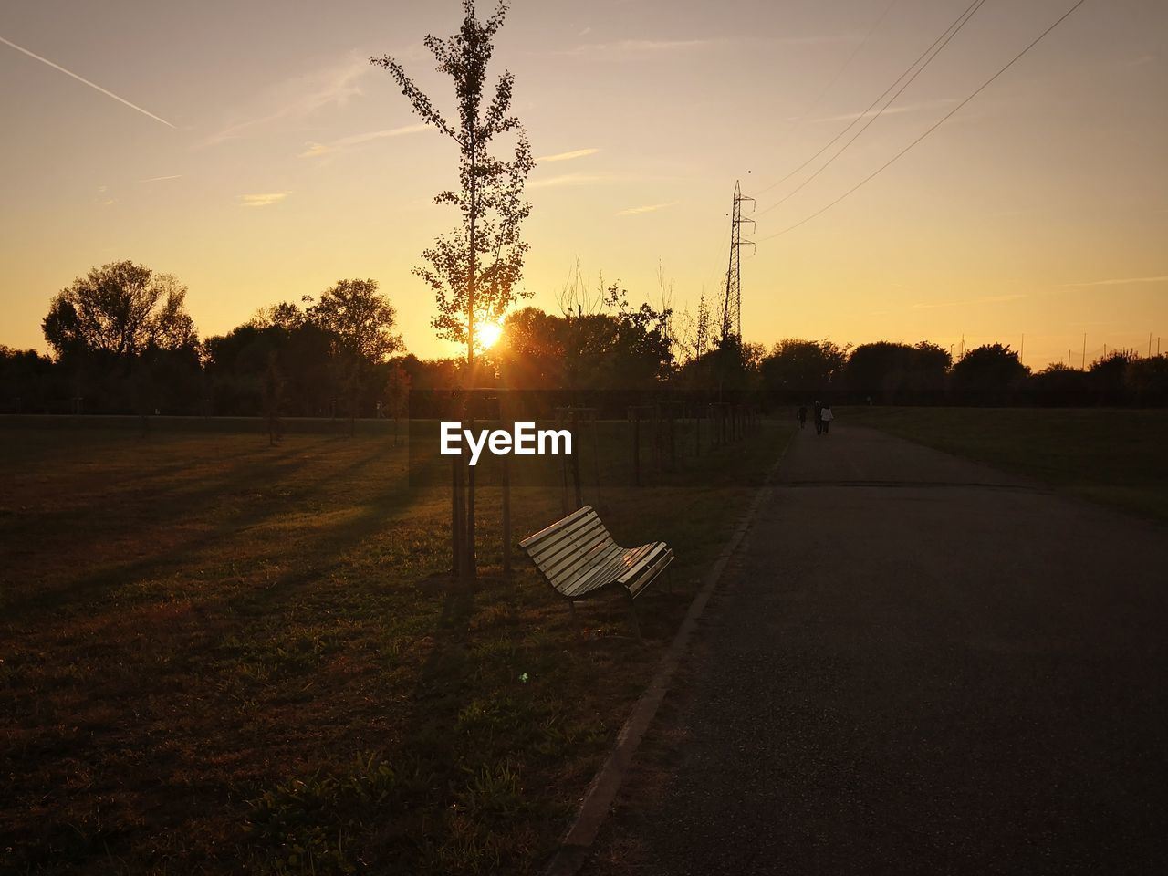 sunset, sky, tree, plant, nature, tranquility, tranquil scene, beauty in nature, sun, scenics - nature, sunlight, no people, electricity, orange color, land, field, landscape, grass, empty, cable, outdoors, lens flare, power supply