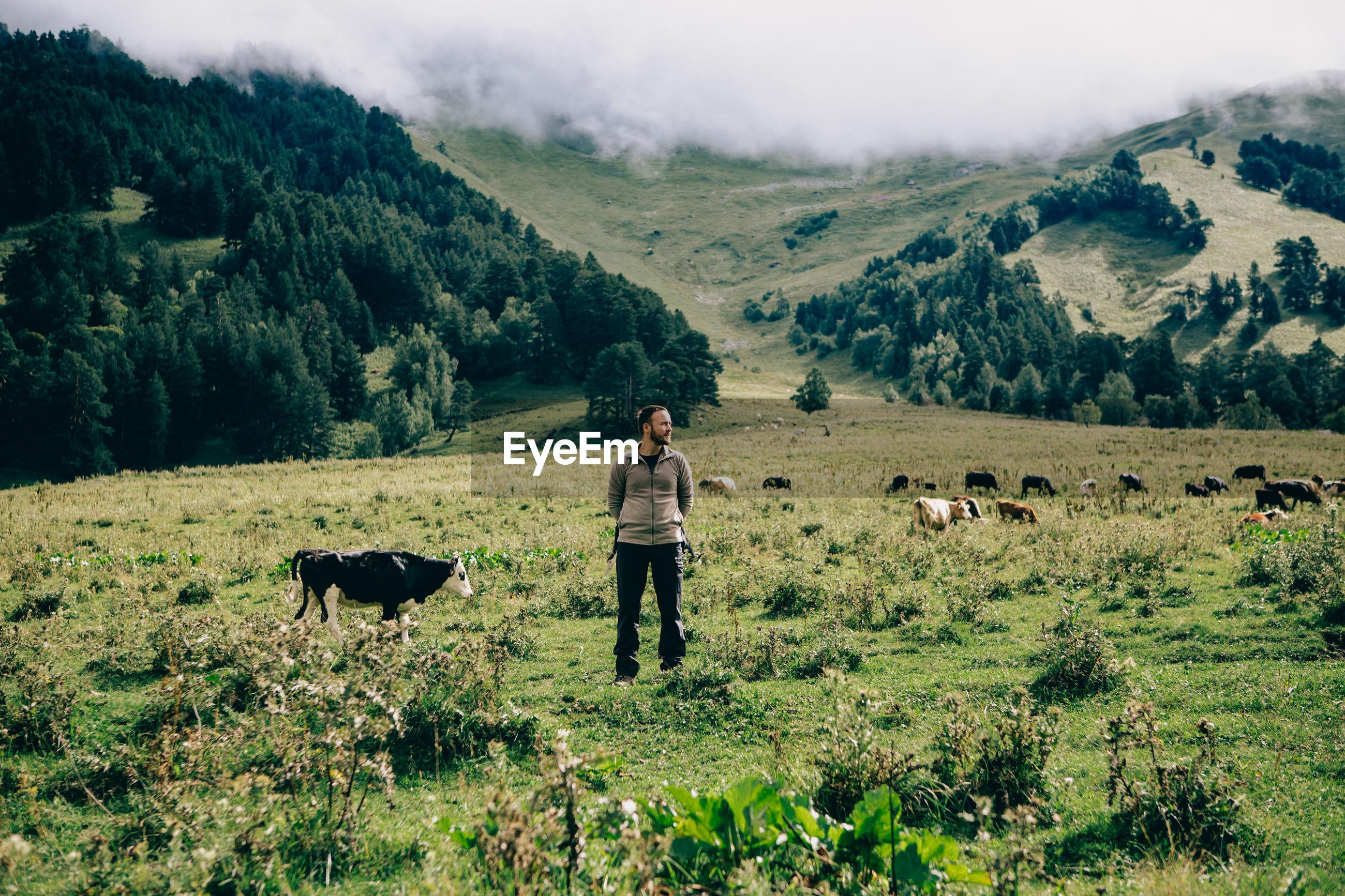 Man standing on grassy mountain