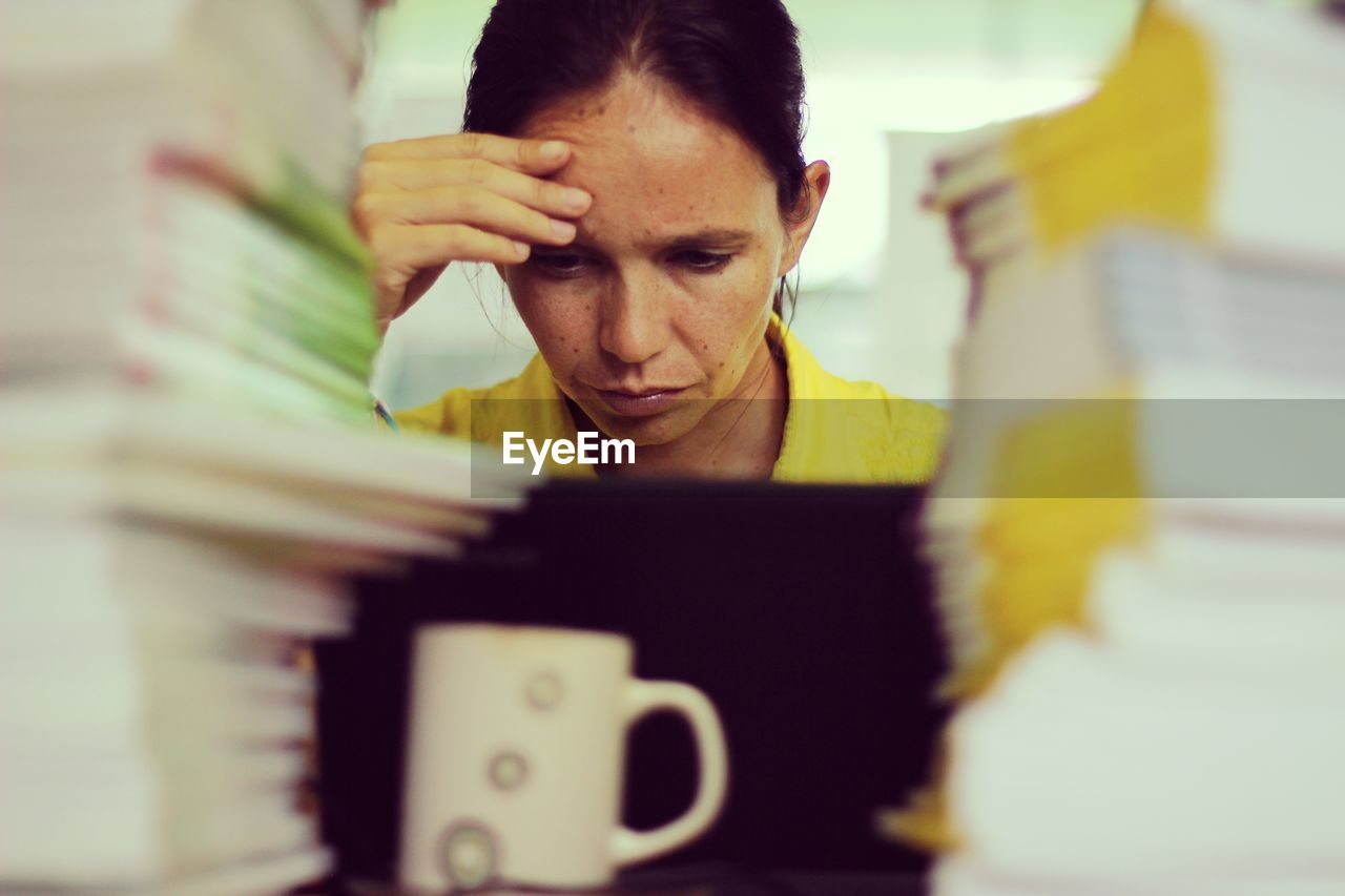 Stressful Woman Working In Office