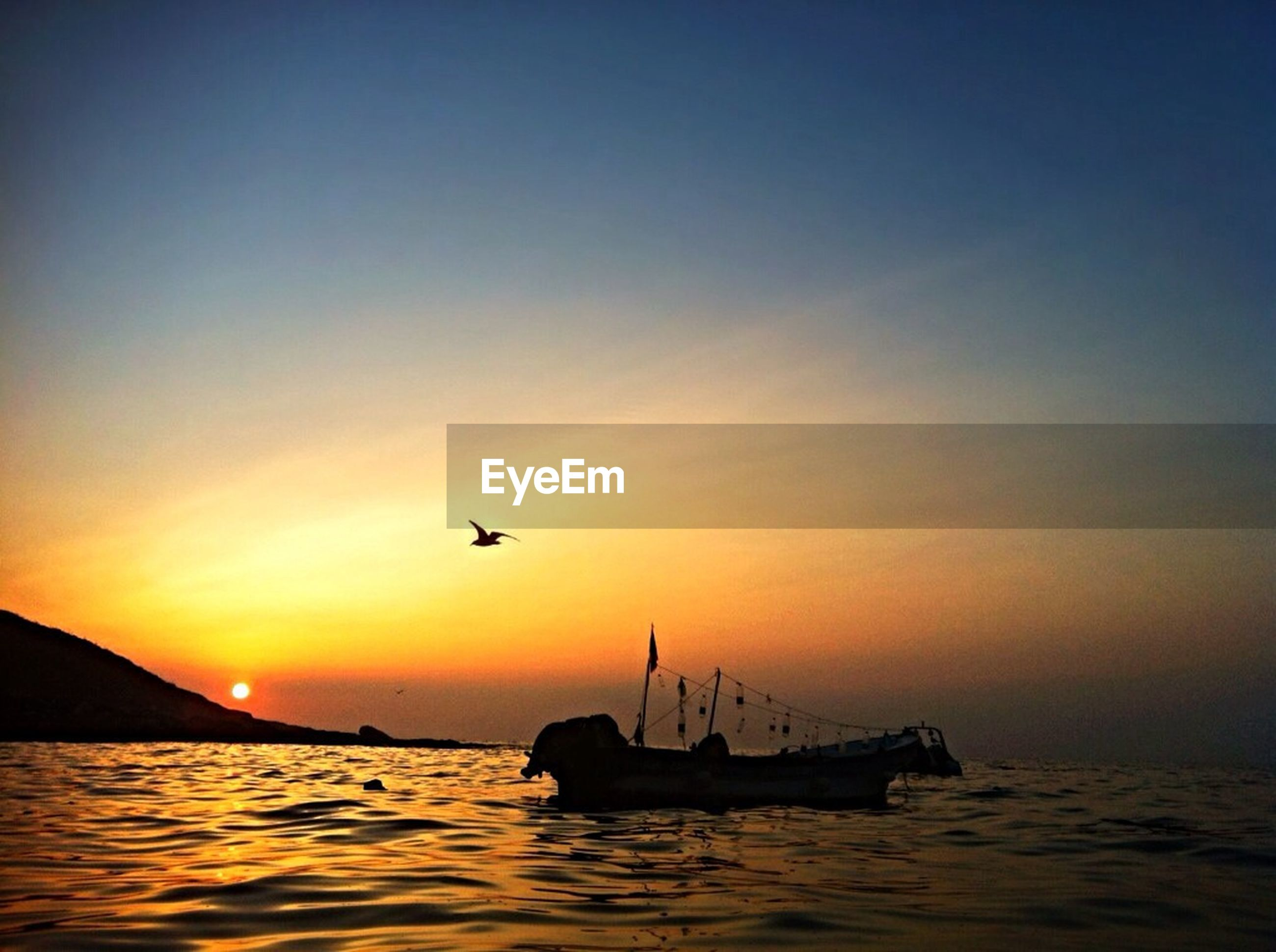 sunset, transportation, mode of transport, flying, nautical vessel, sea, water, silhouette, boat, waterfront, scenics, orange color, beauty in nature, sky, bird, sun, tranquil scene, nature, mid-air, tranquility
