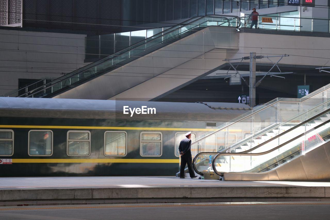 View Of Subway Train At Railroad Station Platform