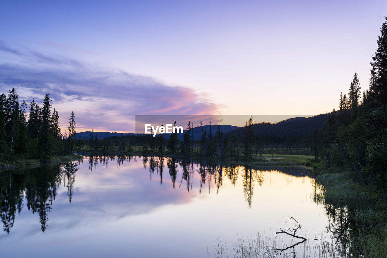 sky, water, reflection, tree, tranquility, beauty in nature, scenics - nature, lake, plant, tranquil scene, sunset, cloud - sky, nature, non-urban scene, no people, idyllic, waterfront, mountain, outdoors, reflection lake